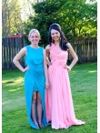 Discount One Shoulder Brush Train Column Watermelon Prom Dress