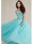 Discount Gorgeous Sweetheart Beaded Bodice Aqua Blue Dress for Quinceanera in Tulle