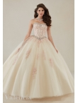 Discount Most Popular Tulle Applique and Beaded Quinceanera Gown in Champagne