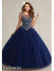 Discount See Through Scoop Backless Beaded Navy Blue Sweet Fifteen Dress in Tulle