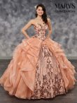 Discount Designer Peach Ball Gowns Organza Sweetheart Sleeveless Embroidery and Ruffles and Sequins Lace Up Quinceanera Gowns Brush Train