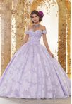 Discount Sumptuous Sleeveless Beading and Hand Made Flower Lace Up Vestidos de Quinceanera with Lavender Sweep Train